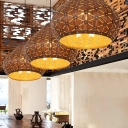 Droplet Pendant Lighting Chinese Wood 1 Bulb Ceiling Suspension Lamp in Brown for Bedroom