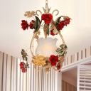 Rose White Glass Suspension Pendant Country Style 1 Head Living Room Ceiling Light