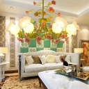 8 Bulbs Scallop Pendant Lamp Traditional Green Frosted Glass Chandelier Light Fixture for Living Room