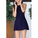 Ladies Sexy Plain Navy Blue Sleeveless Halter Neck Backless Mini A-Line Dress