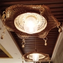 Bamboo Flare Ceiling Lamp Asia 1 Head Khaki Hanging Light Fixture with Clear Lattice Glass Shade
