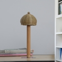1 Head Bedroom Desk Light Chinese Wood Task Lighting with Handcrafted Bamboo Shade