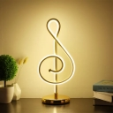 Gold Note Task Lighting Modern LED Acrylic Nightstand Lamp with Circle Metal Base in White/Warm Light