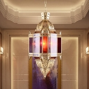 3 Bulbs Jar Pendant Chandelier Art Deco Brass Metal Ceiling Suspension Lamp for Bedroom