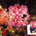 Globe Metal Down Lighting Pendant Retro 1 Bulb Restaurant LED Flower Hanging Ceiling Light in Pink, 14