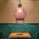Lantern Restaurant Suspension Lighting Decorative 1 Bulb Bronze Hanging Pendant Light