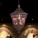 Lantern Metal Suspension Pendant Light Art Deco 1-Light Restaurant Hanging Lamp in Rust
