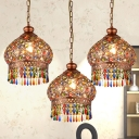 Brass 3 Bulbs Chandelier Lamp Traditional Metal Dome Hanging Ceiling Light for Living Room