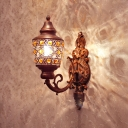 1 Head Urn Wall Lighting Decorative Copper Metal Sconce Light Fixture with Curved Arm
