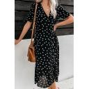 Pretty Women's Short Sleeve Surplice Neck Polka Dot Print Button Front Long A-Line Wrap Dress