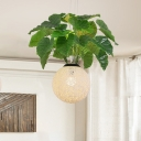 Industrial Global Hanging Light 1 Bulb Metal Ceiling Suspension Lamp in Green with Plant