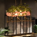 Industrial Birdcage Island Light Fixture 2/3/4 Bulbs Metal Ceiling Suspension Lamp in Brass with Flower Decor