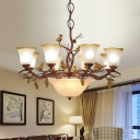Flared Living Room Ceiling Chandelier Vintage Frosted Glass 11 Heads Brown Hanging Light Fixture with Bird and Pinecone