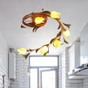 Amber Glass Blossom Ceiling Lighting Traditional 6 Heads LED Bedroom Semi Flush Mount Light Fixture in Brass