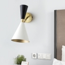 Metal Tapered Wall Lamp Contemporary 1 Head Sconce Light Fixture in Black and White