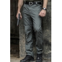 Plain Casual Zip Placket Side Pocket Straight Fit Cargo Pants for Men