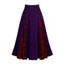 Retro Unique High Rise Button Detail Skull Printed Patched Long Pleated A-Line Skirt for Female