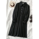 Pretty Girls' Plain Long Sleeve Bow Tie Neck Button Front Ruffle Trim Midi Pleated A-Line Dress