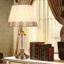 1 Light Crystal Nightstand Lamp Vintage White Drum Living Room Table Light with Fabric Pleated Lampshade