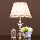 Minimalist Scalloped Table Lamp 1 Head Translucent Crystal Nightstand Light in Pink with Fabric Pleated Shade