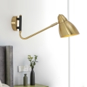 1 Head Bedside Wall Lighting Modernist Gold Sconce Light Fixture with Flare Metal Shade