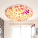 Flower Flush Mount Lighting 2/3/4 Lights Stained Glass Flushmount in Red for Bedroom, 12