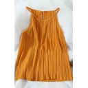 Ladies Chic Sleeveless Halter Neck Hole Back Relaxed Loose Plain Chiffon Top