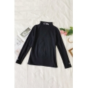 Unique Embroidery Letter Printed High Collar Long Sleeve Leisure T-Shirt