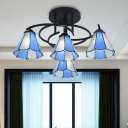 Tiffany Jeweled Semi Flush Light 4 Lights Cut Glass Close to Ceiling Lamp in Blue/White/Beige for Bedroom