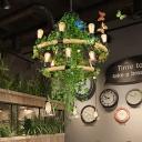 Exposed Bulb Metal Chandelier Light Industrial 6/8/14 Heads Restaurant LED Plant Down Lighting in Green