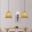 Basket Ceiling Lamp Contemporary Bamboo 1 Bulb Suspension Pendant Light in Beige