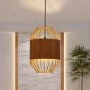 Japanese 1 Bulb Hanging Lamp Beige Cylindrical Suspended Lighting Fixture with Wood Shade