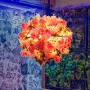 4 Lights Global Chandelier Antique Pink Metal LED Pendant Light with Cherry Blossom for Restaurant