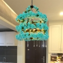 Blossom Restaurant Chandelier Light Industrial Metal 5 Bulbs Blue LED Hanging Lamp with Dangling Crystal