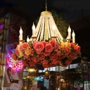Metal Candle Chandelier Light Fixture Antique 10 Heads LED Restaurant Pendant Lamp in Pink with Rose Decoration