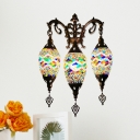 3 Lights Wall Sconce Light Traditional Teardrop White/Yellow/Orange Stained Glass Wall Mounted Lamp Fixture for Bar