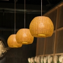 1 Bulb Hand-Woven Downing Lighting Chinese Bamboo Ceiling Suspension Lamp in Khaki