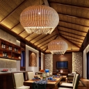 1 Bulb Hand Woven Pendant Lighting Chinese Bamboo Ceiling Suspension Lamp in Beige
