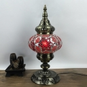 1 Head Stained Glass Table Lamp Vintage White/Red/Yellow Oval Shade Restaurant Nightstand Light
