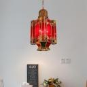 4 Lights Red Glass Chandelier Lighting Art Deco Brass Lantern Bar Hanging Lamp Fixture