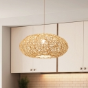 1 Bulb Teahouse Ceiling Lamp Asia Beige Pendant Light Fixture with Handwoven Bamboo Shade