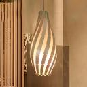 1 Head Tearoom Pendant Light Asian Beige Ceiling Suspension Lamp with Teardrop Wood Shade