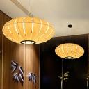 Wood Lantern Chandelier Lighting Japanese 3 Heads Hanging Pendant Light in Beige