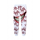 Terrible Grin Mouth Letter HAHA Printed Drawstring Waist White and Red Sport Pants