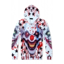 Terrible Blood Star Clown 3D Pattern Long Sleeve Regular White and Red Hoodie