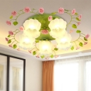 Traditional Blossom Hanging Pendant 1 Head White Glass Suspended Lighting Fixture for Living Room