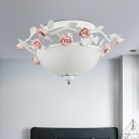 Antique Bowl Ceiling Light Fixture 1 Bulb White Glass LED Flush Mount Lighting for Living Room