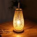 1 Head Living Room Desk Lamp Japanese Beige Task Lighting with Lantern Bamboo Shade