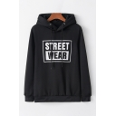 Casual Letter STREET WEAR Printed Long Sleeves Relaxed Fit Drawstring Hoodie