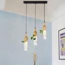Wood 3/5 Bulbs Cluster Pendant Light Industrial Metal Wine Bottle LED Plant Hanging Lamp with Linear/Round Canopy